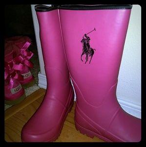 Pink Ralph Lauren rain boots
